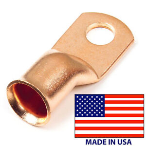 """(10) Copper Lug 6 AWG Gauge 3/8"""" Ring Wire Terminal Battery Cable End Connector"""