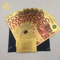 """10 Banconote Dorate """"color"""" da 500€, Euro Gold, Collezione, Regalo, Laminate oro"""
