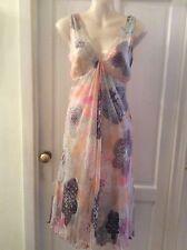 NOUGAT LONDON 100% Silk Overlay Patel Print Floaty Tea Dress. SIZE 1