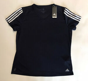 Ladies ADIDAS CLIMALITE 3S Running Short Sleeve T Shirt Top Size XL Black
