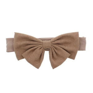 Cute Baby Headband w/Suede Bow Soft Stretchy Toddlers Head Band Hair Accessory