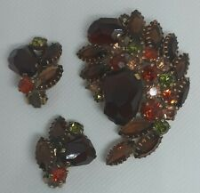 Vintage Rhinestone Fall Color Brooch with Matching Clip-on Earrings