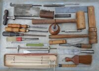 lot of 25+ unusual TOOLS chisels STANLEY buck ETC wooden mallets plow plane iron