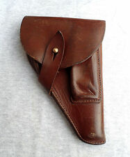 WW2 VINTAGE GERMANY OFFICER WALTHER PP & CZ 27 PISTOL GUN LEATHER HOLSTER MARKED