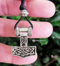 Thors Hammer Viking Pendant Cord Necklace Mjolnir Pagan Norse Amulet Protection