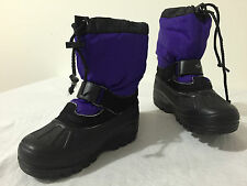 Sorel Made in Canada Winter Snow Boots Purple/Black Felt Liners Little Girl's 11