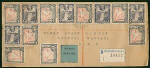 Mayfairstamps British Guiana 1942 Registered Airmail Mixed Reign Franking Cover