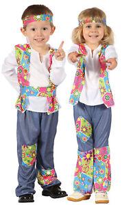 Toddler Boys Girls 60s 70s Hippy Hippie Retro Fancy Dress Costume X-Small 3-4