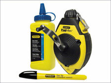 Stanley FatMax 30m Chalk Line Reel Set Kit Blue Chalk & Marker Pen New