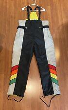 New listing Vtg 1980s John Deere Snow Ski Pants (Men's Size L) Black Multi Color w/ Straps