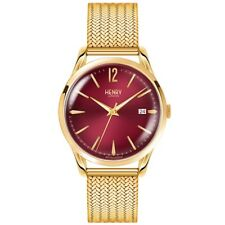 Mens Gold 60s Vintage Retro Style Henry London Burgundy Gents Analog Watch