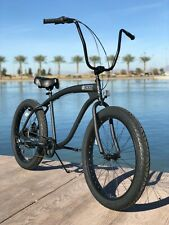 Fat Tire Beach Cruiser Bike- 26X3 Flat Black 57mm Rims- 7 speed - Rear Disc SIKK