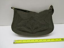 "VINTAGE ""CORDE"" GREENISH BROWN RAYON HANDBAG PURSE EXCELLENT CON.***"