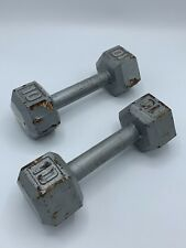 TWO (2) 10 lb Pound Hex Head Iron Metal Dumbbell Pair Set Weights