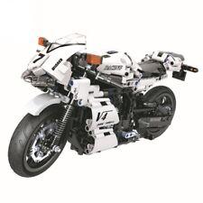 New 716pcs Technic series White Racing motorcycle Building Blocks Bricks Model