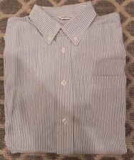 RUGGED BEAR Boys XL 16 Blue White Striped Button Down Cotton Oxford Cloth Shirt