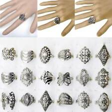 100pcs Vintage Tibet Silver Rings Wholesale Bulk Jewelry Lots Mixed Style Ring