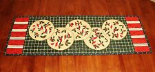 Christmas Candy Canes & Holly Handmade & Finished Quilted Tablerunner