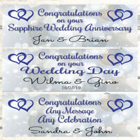 2 PERSONALISED HEARTS JOINED WEDDING BANNERS, SAPPHIRE 45TH WEDDING ANNIVERSARY