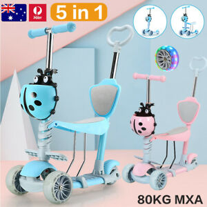 5 in 1 Kids Scooter Balance Bike Tricycle Adjustable Ride Removable Seat on Toys