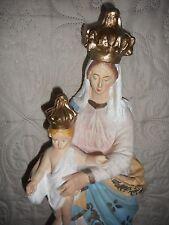 ANCIENNE STATUE RELIGIEUSE/ND DE VICTOIRE/VIERGE A L'ENFANT JESUS/PLATRE/H.46cm