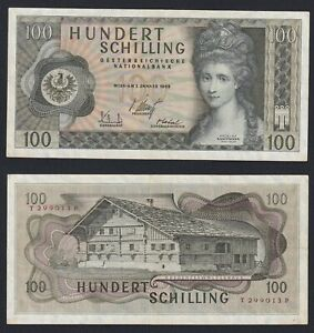 Austria 100 Schilling 1969 BB VF+ C-09