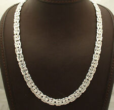 "20"" All Shiny Polished Byzantine Necklace Chain Real Sterling Silver 925"
