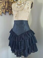 vtg 80'S Leather And Lace Punk Prairie Noir Madonna High Waist Mini Skirt Xs S