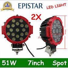 """2pcs 7"""" 51W Spot LED Light Offroad Round Work Lamp Truck 4WD ATV Bumper RED OFF"""