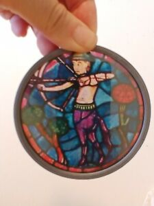 Sagittarius vintage stained glass suncatcher archer