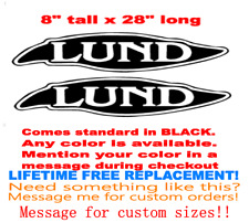 "PAIR OF 8"" X 28"" LUND BOAT HULL DECALS MARINE GRADE. YOUR COLOR CHOICE. 123"