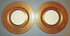 "Theodore Haviland Gold Encrusted 10 1/2"" Dinner Plates / Chargers Set / 2 - Read"