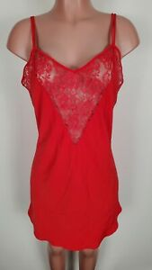 Vtg Victorias Secret Red Lace Nightie Nightgown Lingerie L NWT Gold Label