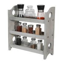 3-Tier Multi-purpose Wooden Spice Rack Wall-Mount Holder Bathroom Kitchen Dining