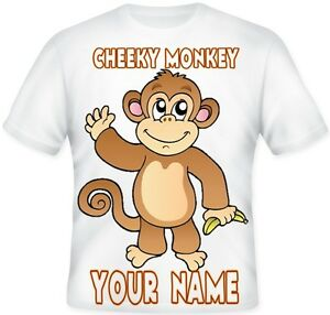 BOYS GIRLS Top CHEEKY LITTLE MONKEY Sublimation T Shirt Great BIRTHDAY Gift