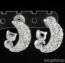 18K WHITE GOLD PLATED CAT KITTY ON THE MOON STUD EARRINGS USE SWAROVSKI CRYSTALS
