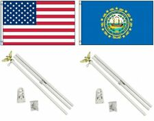 3x5 Usa American & State of New Hampshire Flag & 2 White Pole Kit Sets 3'x5'