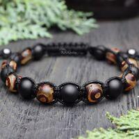 Bracelet STYLE Tibétain Mala Homme/Men's perles Pierre gemme Agate Fait Main