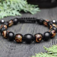 New Bracelet Style Shambala Homme/Men's perles Pierre gemme Agate Fait Main