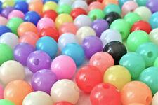 125 cuentas de plástico opaco Mezclado Color 10 mm ideal para hacer pulseras AB0219