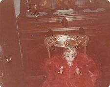 Old Vintage Photograph Retro Dining Room Gorgeous Old Doll in Rocking Chair 1983