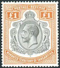 TANGANYIKA-1927-31 £1 Brown-Orange.  An unmounted mint minor gum imperfections