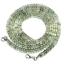"""Natural Gem Green Amethyst Prasiolite Faceted 6.5MM Rondelle Beads Necklace 17"""""""