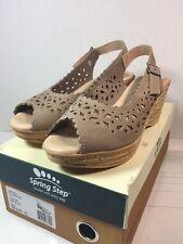 Spring Step Chaya Women US 5 Beige Peep Toe Slingback Heel
