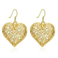 Women's Heart Ear Drop Dangle Earrings 18K Yellow Gold Filled Fashion Jewelry