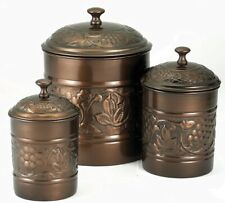 Old Dutch HERITAGE 811 Set of 3 Embossed Antique Copper KITCHEN CANISTERS