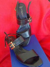 NEW $335 Womens Made in Italy Black LEATHER Shoes 7 Size 37 Heels Sandals Ladies