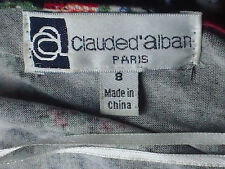 CLAUDE D'ALBAN RedRoseScooped3/4SlvSkater Size8 as NEW