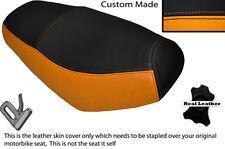 Negro Y Naranja Custom encaja superbyke Powerband 50 Doble Cuero Funda De Asiento