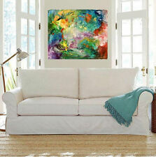 LARGE Abstract Painting,Colorful Modern canvasArt, Acrylic WallDecor.CELEBRATION